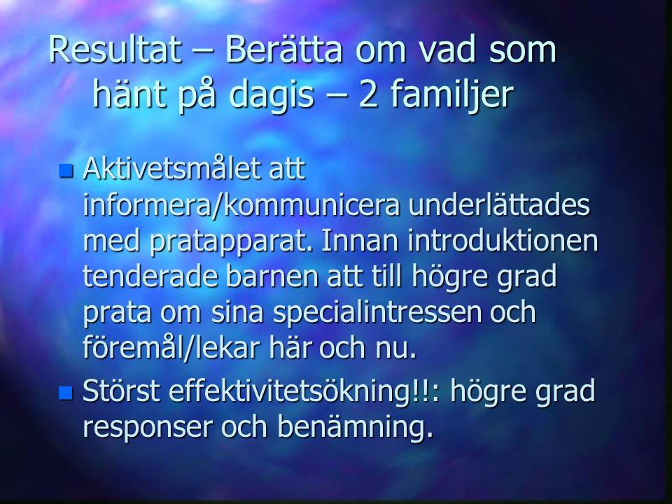 Resultat – Berätta om vad som hänt på dagis – 2 familjer n Aktivetsmålet att informera/kommunicera underlättades med pratapparat. Innan introduktionen