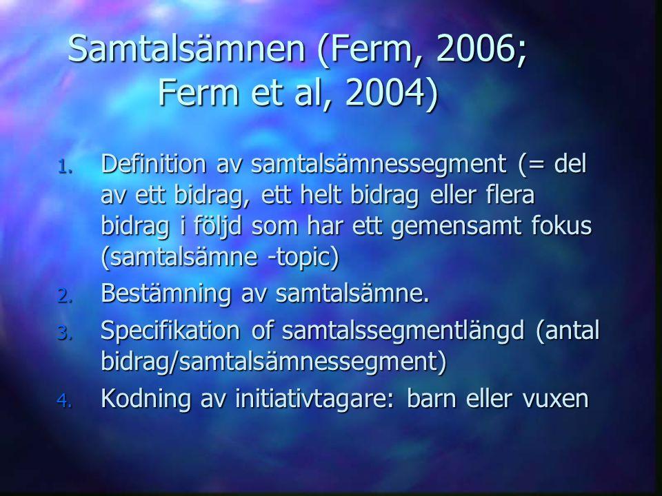 Samtalsämnen (Ferm, 2006; Ferm et al, 2004) 1. Definition av samtalsämnessegment (= del av ett bidrag, ett helt bidrag eller flera bidrag i följd som