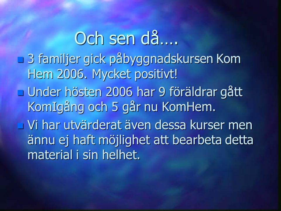 Och sen då…. n 3 familjer gick påbyggnadskursen Kom Hem 2006. Mycket positivt! n Under hösten 2006 har 9 föräldrar gått KomIgång och 5 går nu KomHem.