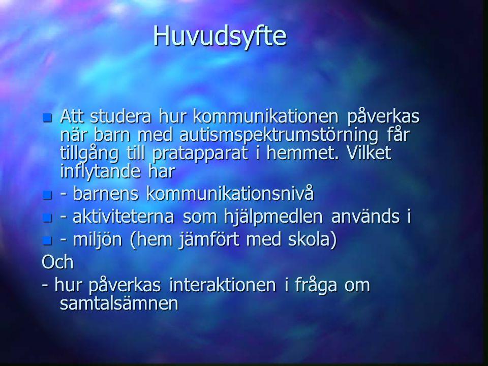 Huvudsyfte n Att studera hur kommunikationen påverkas när barn med autismspektrumstörning får tillgång till pratapparat i hemmet. Vilket inflytande ha