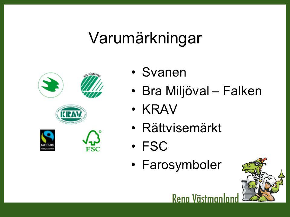 Varumärkningar •Svanen •Bra Miljöval – Falken •KRAV •Rättvisemärkt •FSC •Farosymboler