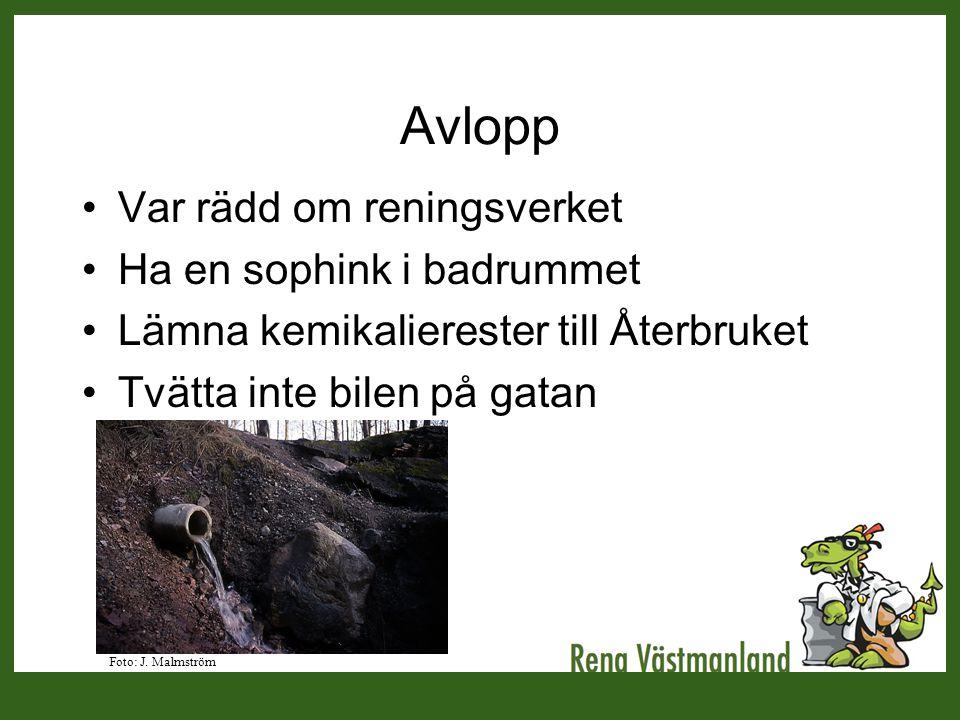 Avlopp •Var rädd om reningsverket •Ha en sophink i badrummet •Lämna kemikalierester till Återbruket •Tvätta inte bilen på gatan Foto: J. Malmström