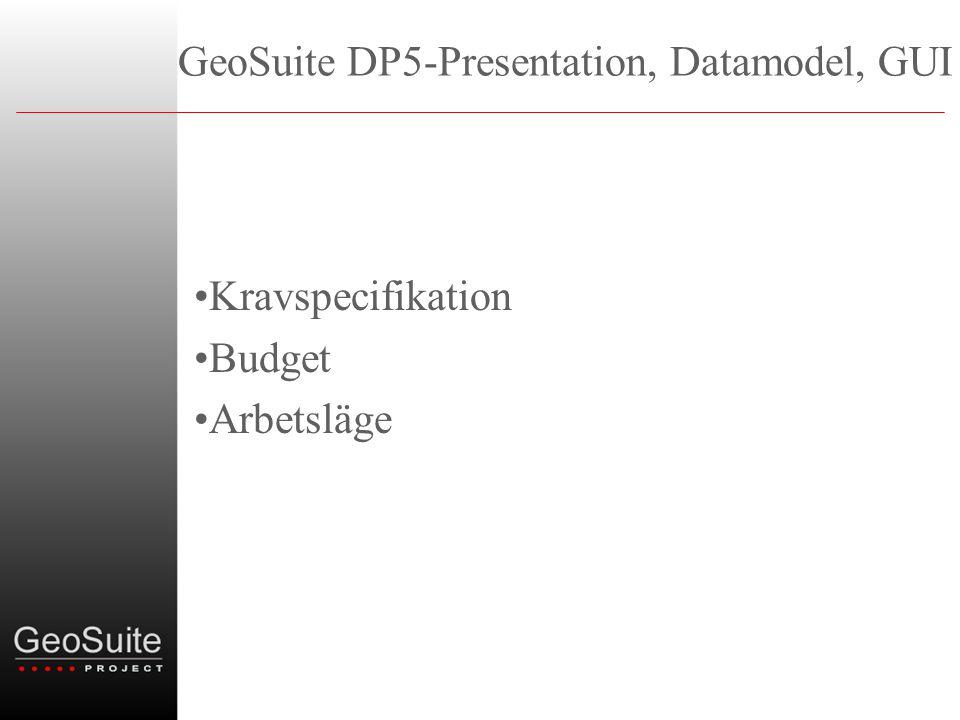 GeoSuite DP5-Presentation, Datamodel, GUI •Kravspecifikation •Budget •Arbetsläge