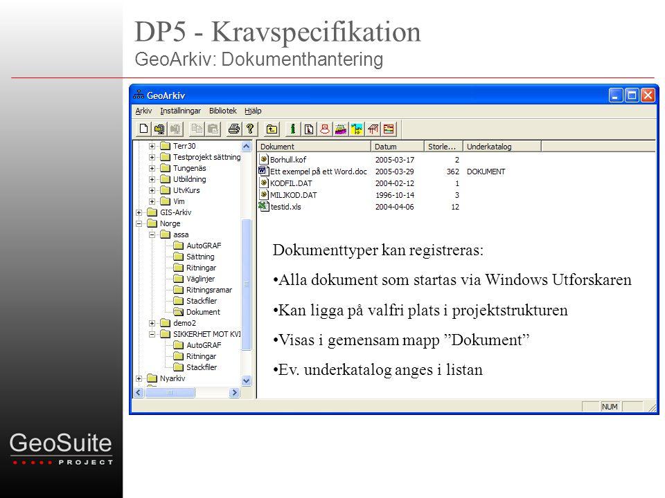 DP5 - Kravspecifikation GeoArkiv: Dokumenthantering Dokumenttyper kan registreras: •Alla dokument som startas via Windows Utforskaren •Kan ligga på valfri plats i projektstrukturen •Visas i gemensam mapp Dokument •Ev.