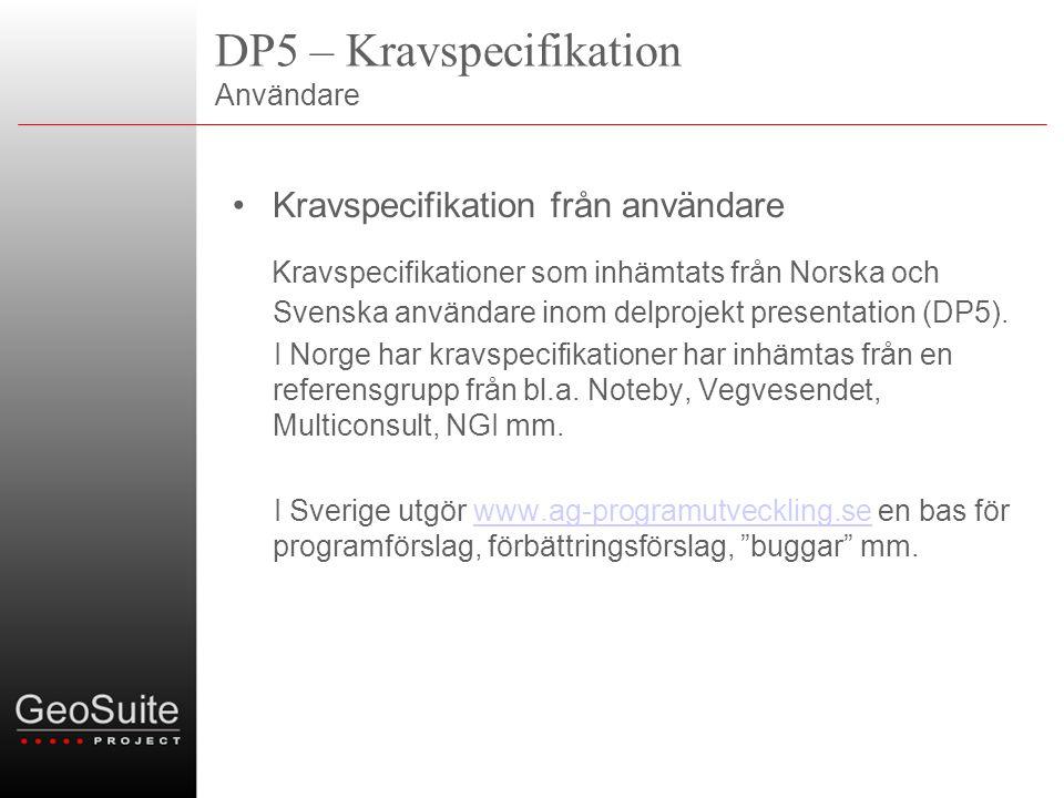 DP5 – Kravspecifikation Användare •Kravspecifikation från användare Kravspecifikationer som inhämtats från Norska och Svenska användare inom delprojekt presentation (DP5).