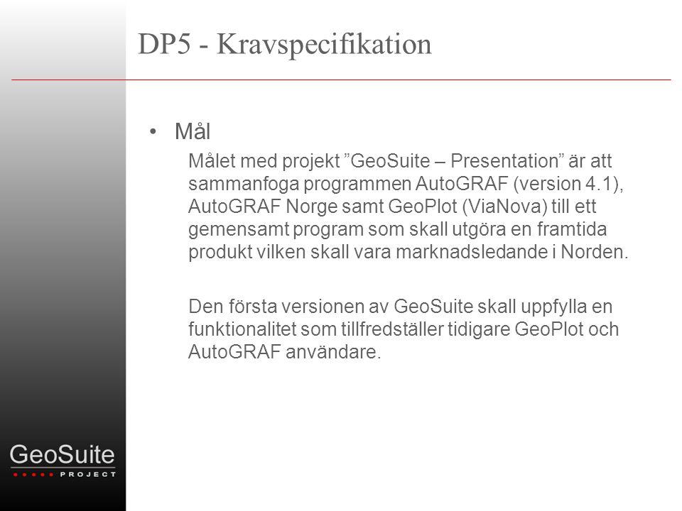 DP5 - Kravspecifikation •Mål Målet med projekt GeoSuite – Presentation är att sammanfoga programmen AutoGRAF (version 4.1), AutoGRAF Norge samt GeoPlot (ViaNova) till ett gemensamt program som skall utgöra en framtida produkt vilken skall vara marknadsledande i Norden.