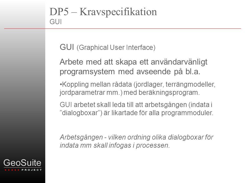 DP5 – Kravspecifikation GeoSuite – datamodell/arkitektur Befintlig datalagring Presentation (AutoGRAF) AutoCAD Wrapper.NET Befintlig datamodell VectorDraw CAD Facade.NET GeoSuite GUI Databas (ny)