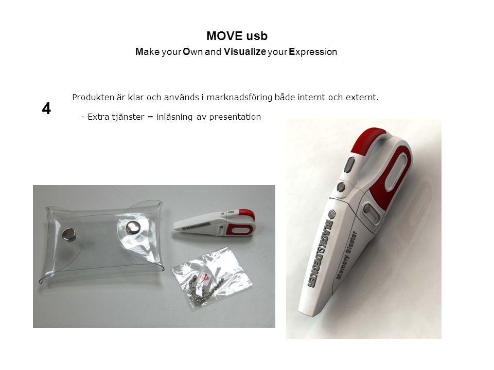 MOVE usb Make your Own and Visualize your Expression Produkten är klar och används i marknadsföring både internt och externt. - Extra tjänster = inläs