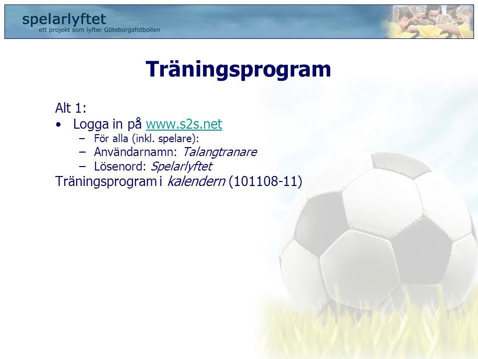 Träningsprogram Alt 1: •Logga in på www.s2s.netwww.s2s.net –För alla (inkl. spelare): –Användarnamn: Talangtranare –Lösenord: Spelarlyftet Träningspro