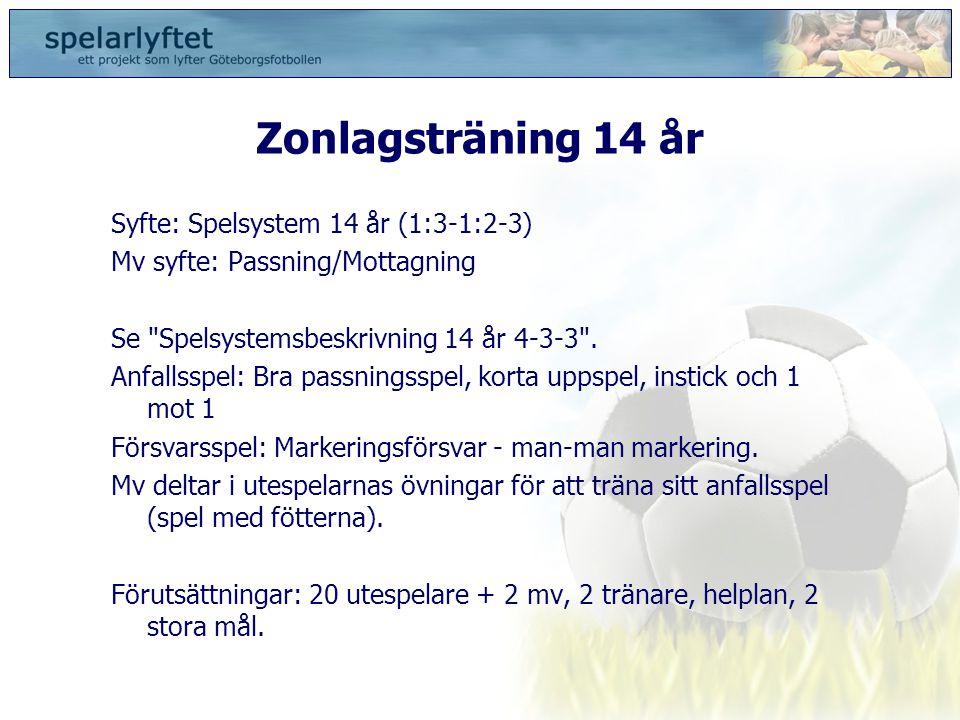 Zonlagsträning 14 år Syfte: Spelsystem 14 år (1:3-1:2-3) Mv syfte: Passning/Mottagning Se