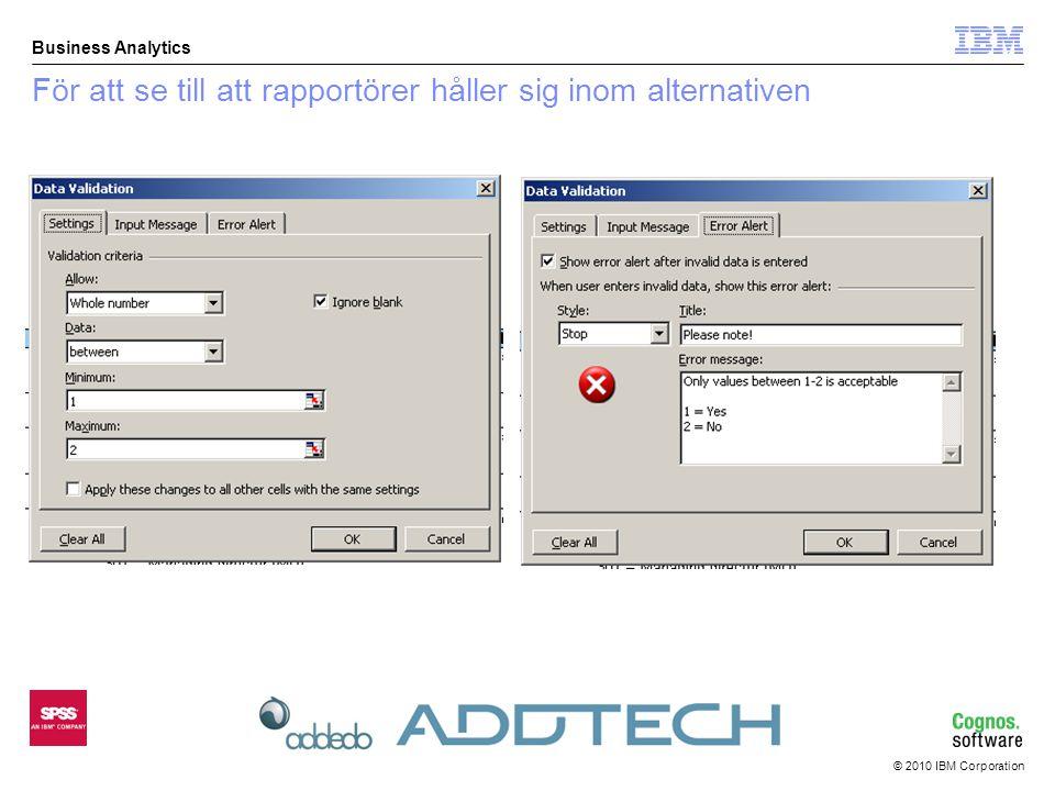 © 2010 IBM Corporation Business Analytics För att se till att rapportörer håller sig inom alternativen