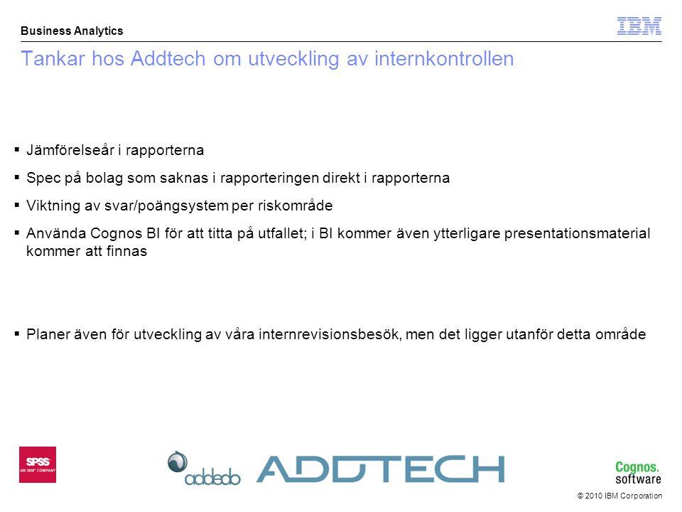 © 2010 IBM Corporation Business Analytics Tankar hos Addtech om utveckling av internkontrollen  Jämförelseår i rapporterna  Spec på bolag som saknas