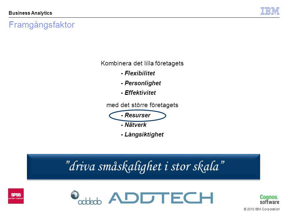 © 2010 IBM Corporation Business Analytics I statusfältet visas vid inmatning valt alternativ med text.