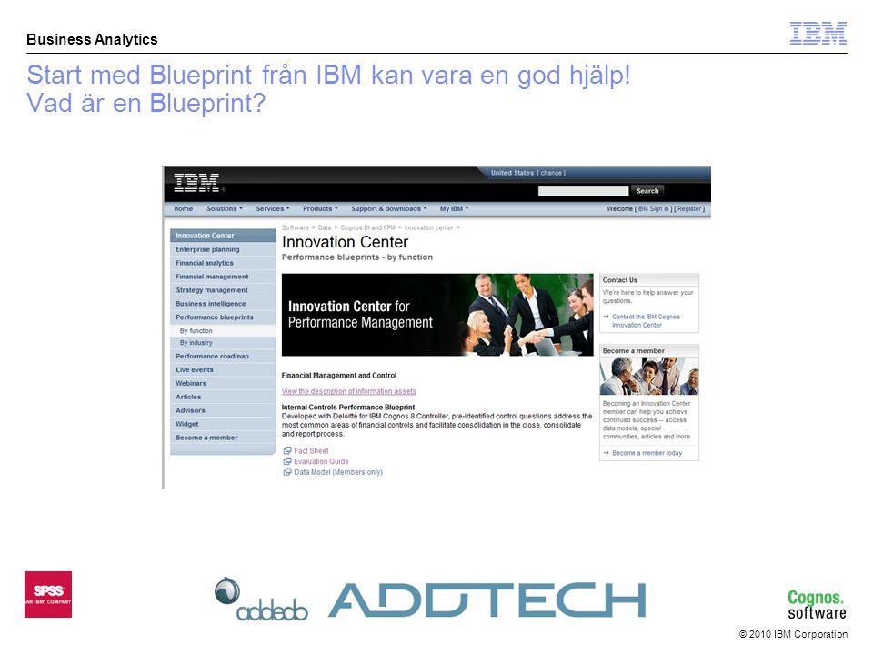 © 2010 IBM Corporation Business Analytics Blueprint  dagens Addtechversion  Utgick ifrån blueprint som tillhandahålls på IBM's hemsida  I indatablenketterna justerat frågeställningar så de passar oss –I Excel (blanketterna) byggt in koder för olika svarsalternativ •Får lov att vara kreativ i Excel •Försökt tänka enkelt för att användaren ska tycka det är bra samt kunna hantera utdata så smidigt som möjligt  Rapporter för utdata –Hantera svarkoder i Excel för att summera • Nollsvarande = ej svarande bolag –Layouthantering