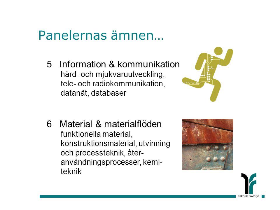 Panelernas ämnen… 5 Information & kommunikation hård- och mjukvaruutveckling, tele- och radiokommunikation, datanät, databaser 6 Material & materialflöden funktionella material, konstruktionsmaterial, utvinning och processteknik, åter- användningsprocesser, kemi- teknik