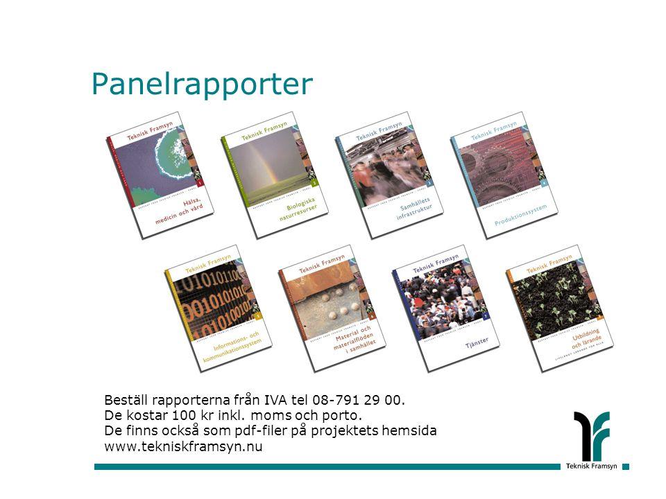 Panelrapporter Beställ rapporterna från IVA tel 08-791 29 00. De kostar 100 kr inkl. moms och porto. De finns också som pdf-filer på projektets hemsid