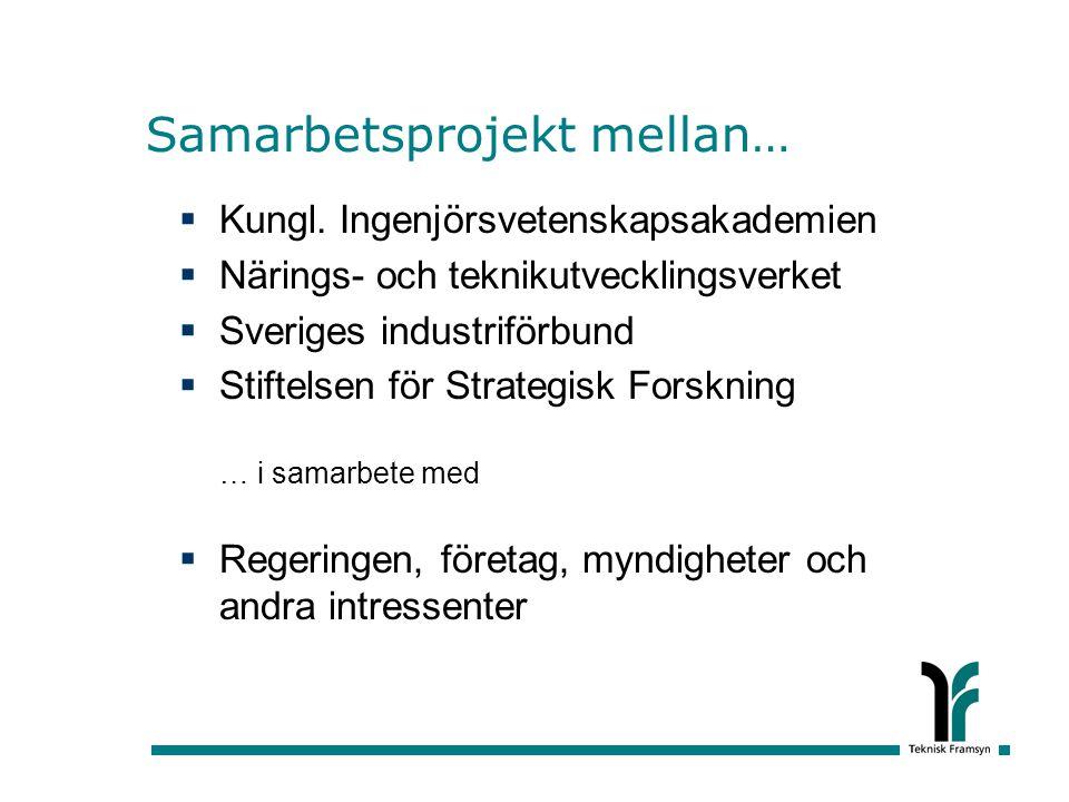 Samarbetsprojekt mellan…  Kungl. Ingenjörsvetenskapsakademien  Närings- och teknikutvecklingsverket  Sveriges industriförbund  Stiftelsen för Stra