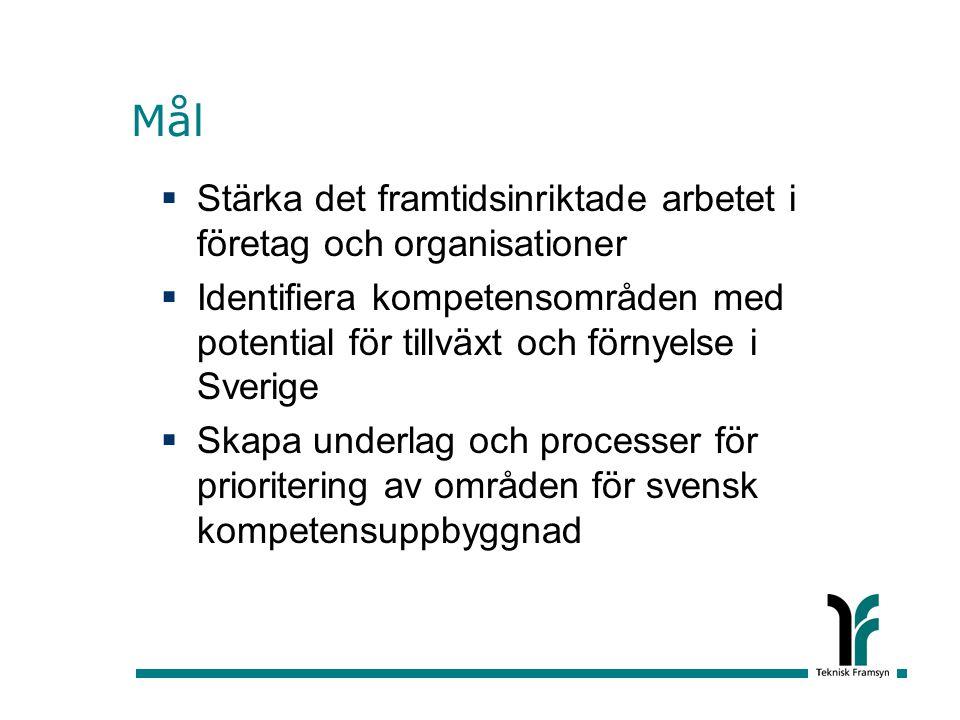 Mål  Stärka det framtidsinriktade arbetet i företag och organisationer  Identifiera kompetensområden med potential för tillväxt och förnyelse i Sverige  Skapa underlag och processer för prioritering av områden för svensk kompetensuppbyggnad