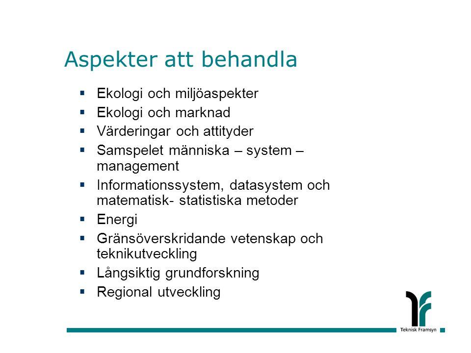 Aspekter att behandla  Ekologi och miljöaspekter  Ekologi och marknad  Värderingar och attityder  Samspelet människa – system – management  Infor