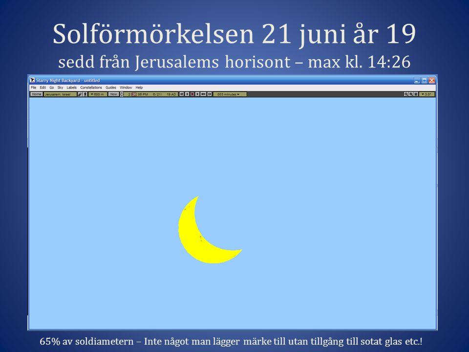 Solförmörkelsen 21 juni år 19 sedd från Jerusalems horisont – max kl.