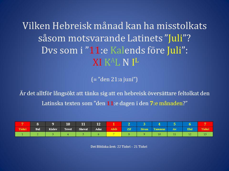 Vilken Hebreisk månad kan ha misstolkats såsom motsvarande Latinets Juli .