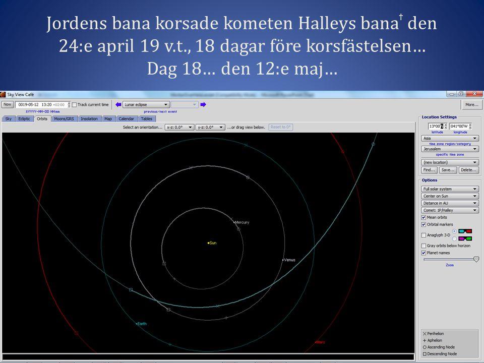 Jordens bana korsade kometen Halleys bana ϯ den 24:e april 19 v.t., 18 dagar före korsfästelsen… Dag 18… den 12:e maj…