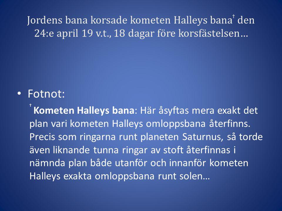 Jordens bana korsade kometen Halleys bana ϯ den 24:e april 19 v.t., 18 dagar före korsfästelsen… • Fotnot: Ϯ Kometen Halleys bana: Här åsyftas mera exakt det plan vari kometen Halleys omloppsbana återfinns.