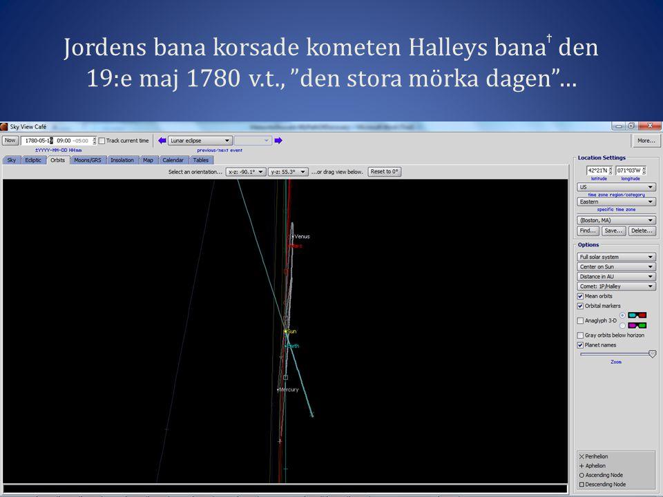 Jordens bana korsade kometen Halleys bana ϯ den 19:e maj 1780 v.t., den stora mörka dagen …