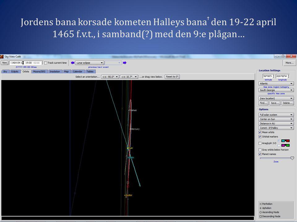 Jordens bana korsade kometen Halleys bana ϯ den 19-22 april 1465 f.v.t., i samband(?) med den 9:e plågan…