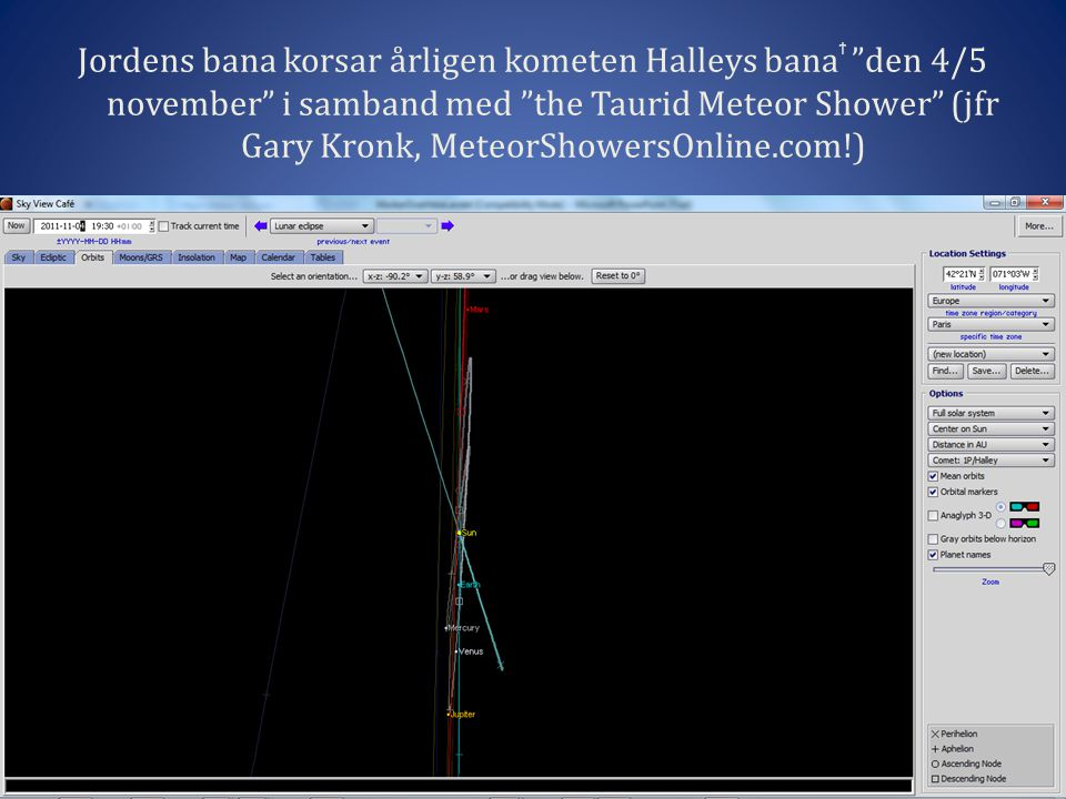 "Jordens bana korsar årligen kometen Halleys bana ϯ ""den 4/5 november"" i samband med ""the Taurid Meteor Shower"" (jfr Gary Kronk, MeteorShowersOnline.co"