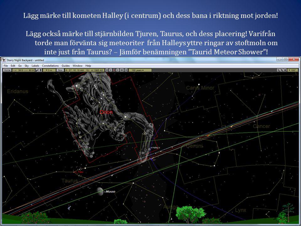 Lägg märke till kometen Halley (i centrum) och dess bana i riktning mot jorden.