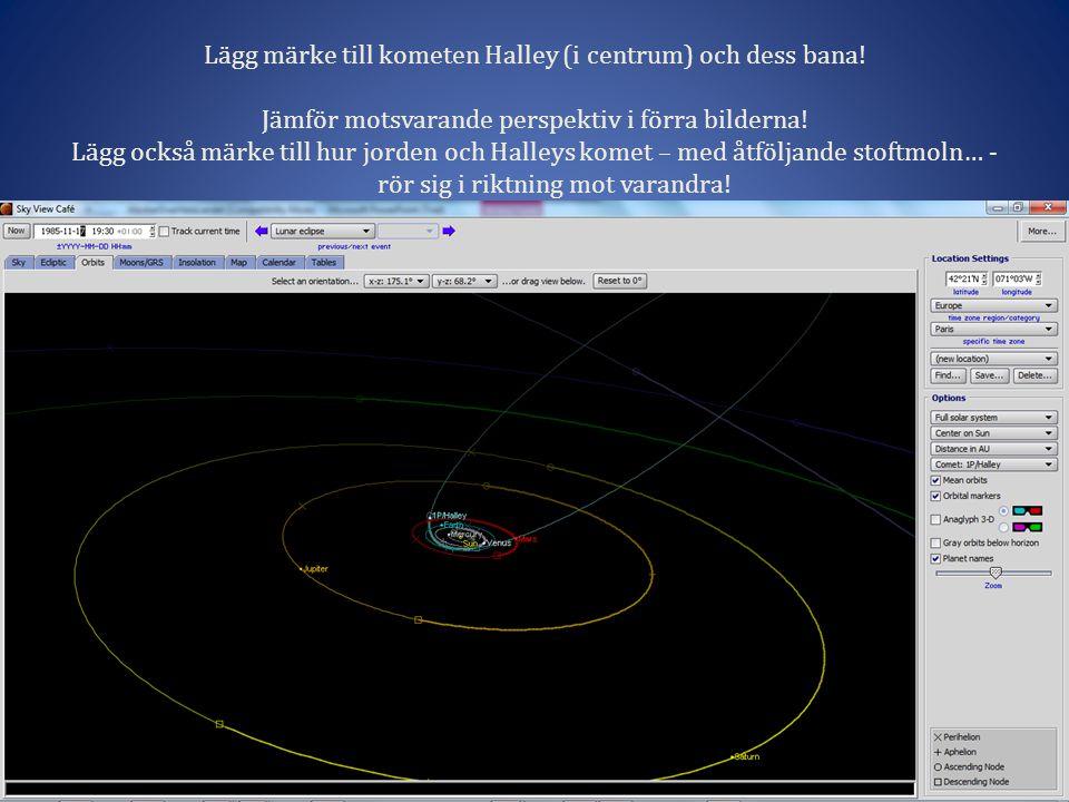 Lägg märke till kometen Halley (i centrum) och dess bana.