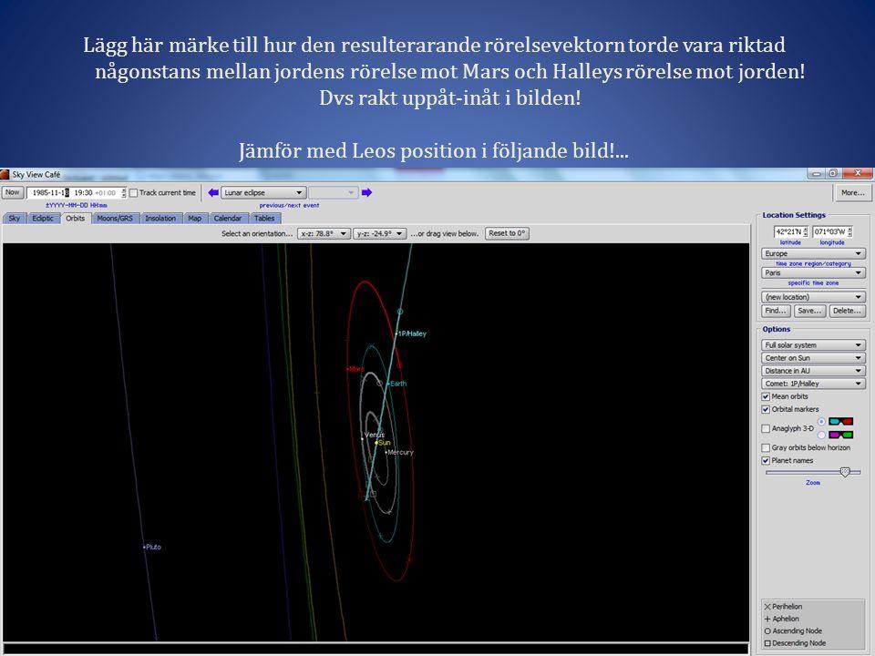 Lägg här märke till hur den resulterarande rörelsevektorn torde vara riktad någonstans mellan jordens rörelse mot Mars och Halleys rörelse mot jorden.