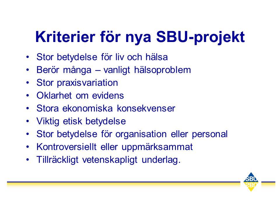 Kriterier för nya SBU-projekt •Stor betydelse för liv och hälsa •Berör många – vanligt hälsoproblem •Stor praxisvariation •Oklarhet om evidens •Stora
