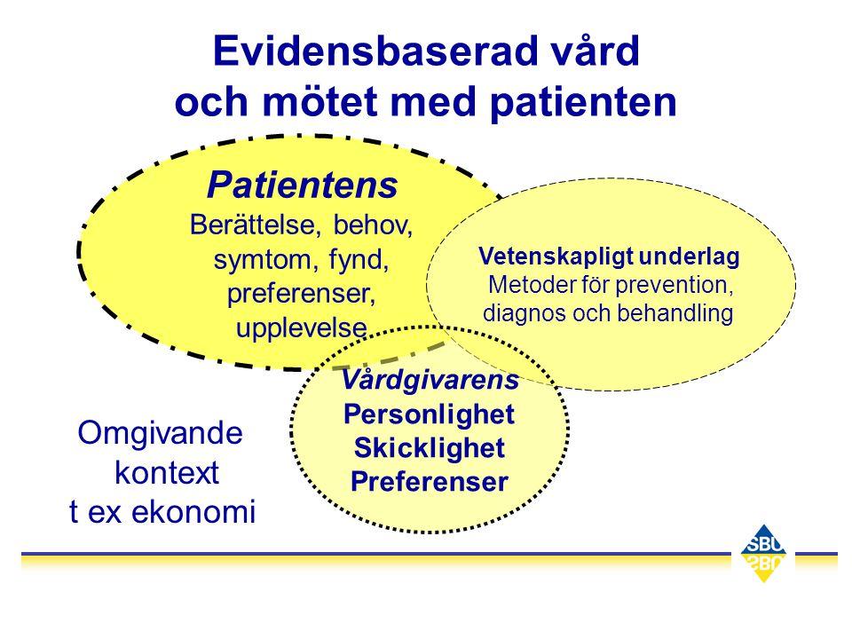 Evidensbaserad vård och mötet med patienten Patientens Berättelse, behov, symtom, fynd, preferenser, upplevelse Vetenskapligt underlag Metoder för pre