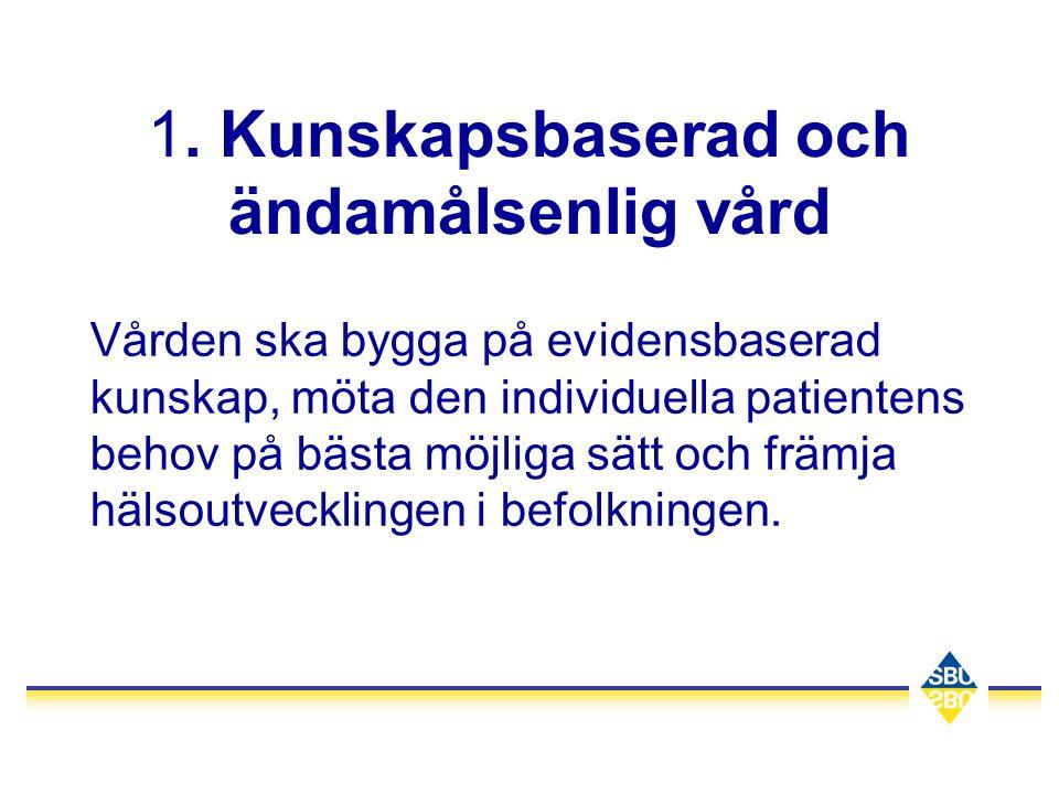 1. Kunskapsbaserad och ändamålsenlig vård Vården ska bygga på evidensbaserad kunskap, möta den individuella patientens behov på bästa möjliga sätt och