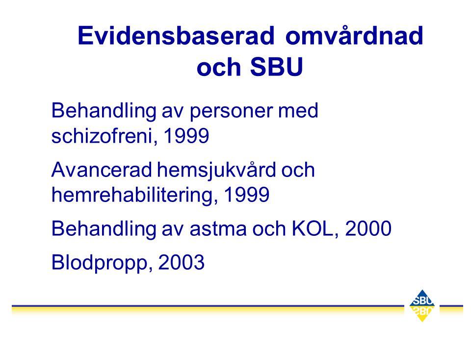Evidensbaserad omvårdnad och SBU Behandling av personer med schizofreni, 1999 Avancerad hemsjukvård och hemrehabilitering, 1999 Behandling av astma oc