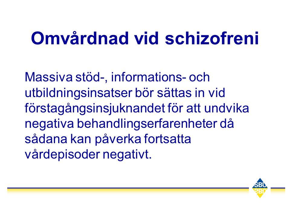 Omvårdnad vid schizofreni Massiva stöd-, informations- och utbildningsinsatser bör sättas in vid förstagångsinsjuknandet för att undvika negativa beha