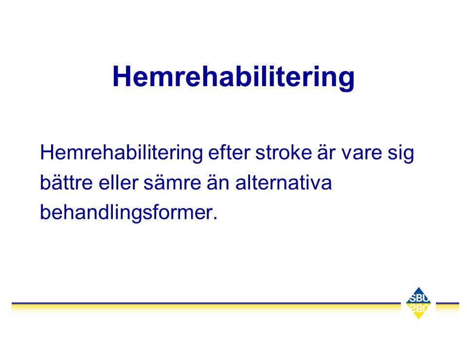 Hemrehabilitering Hemrehabilitering efter stroke är vare sig bättre eller sämre än alternativa behandlingsformer.
