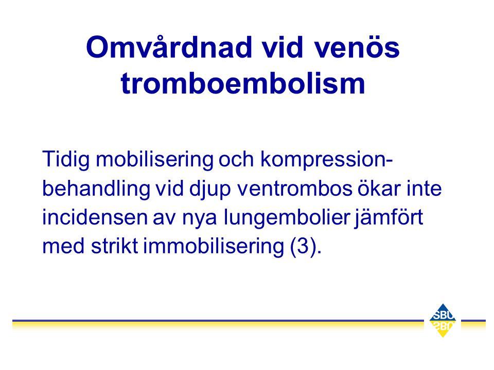Omvårdnad vid venös tromboembolism Tidig mobilisering och kompression- behandling vid djup ventrombos ökar inte incidensen av nya lungembolier jämfört
