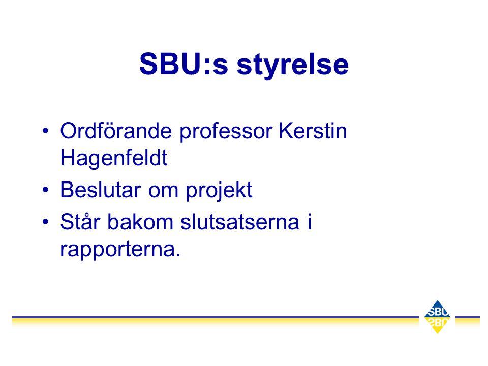 SBU:s styrelse •Ordförande professor Kerstin Hagenfeldt •Beslutar om projekt •Står bakom slutsatserna i rapporterna.