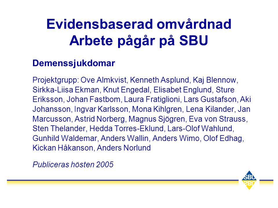 Evidensbaserad omvårdnad Arbete pågår på SBU Demenssjukdomar Projektgrupp: Ove Almkvist, Kenneth Asplund, Kaj Blennow, Sirkka-Liisa Ekman, Knut Engeda