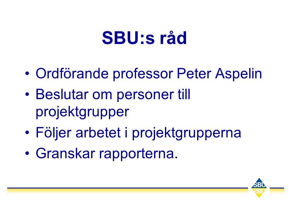 SBU:s råd •Ordförande professor Peter Aspelin •Beslutar om personer till projektgrupper •Följer arbetet i projektgrupperna •Granskar rapporterna.