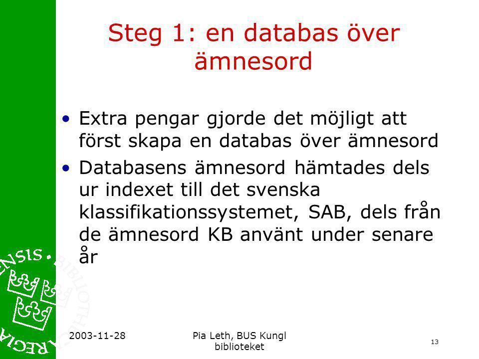 13 2003-11-28Pia Leth, BUS Kungl biblioteket Steg 1: en databas över ämnesord •Extra pengar gjorde det möjligt att först skapa en databas över ämnesord •Databasens ämnesord hämtades dels ur indexet till det svenska klassifikationssystemet, SAB, dels från de ämnesord KB använt under senare år