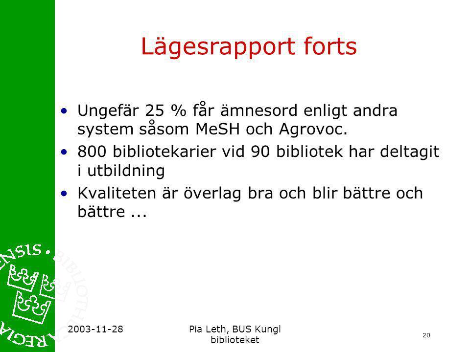 20 2003-11-28Pia Leth, BUS Kungl biblioteket Lägesrapport forts •Ungefär 25 % får ämnesord enligt andra system såsom MeSH och Agrovoc.