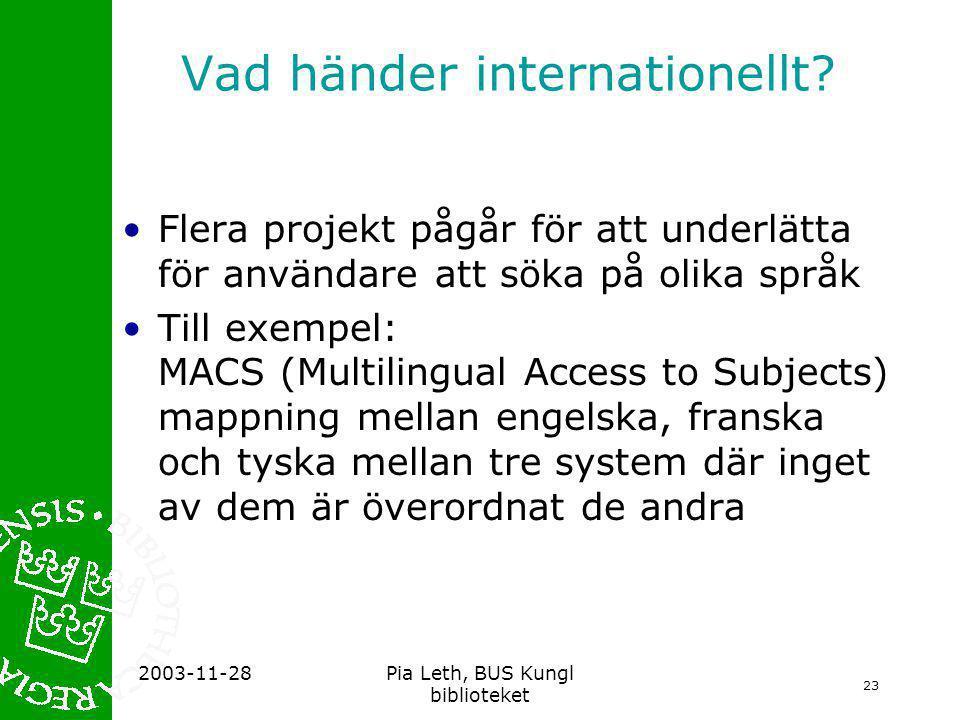 23 2003-11-28Pia Leth, BUS Kungl biblioteket Vad händer internationellt.