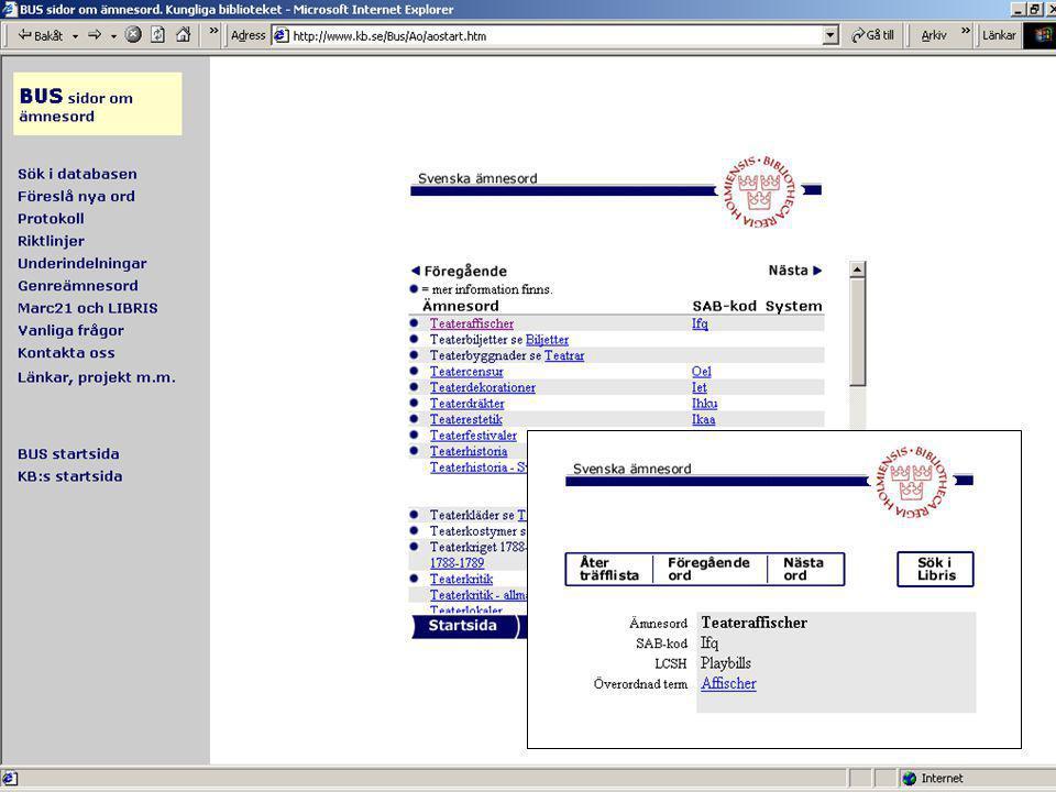 5 2003-11-28Pia Leth, BUS Kungl biblioteket Mer om Svenska ämnesord •Kontinuerligt underhåll och uppdatering av BUS •Möjlighet att föreslå nya ord eller ändringar •Används också av söktjänster och ämnesportaler