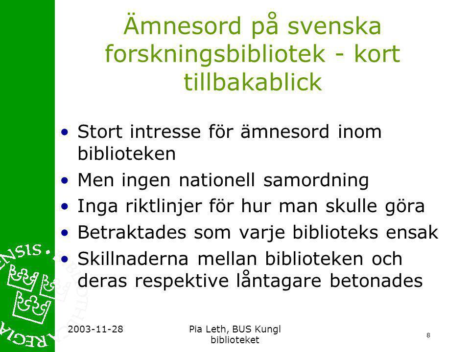 19 2003-11-28Pia Leth, BUS Kungl biblioteket Lägesrapport •Ca 35 bibliotek och bibliografier i LIBRIS använder Svenska ämnesord •I princip har alla de nationalbibliografiska katalogposterna ämnesord enligt Svenska ämnesord •Plus ca 40-50 % av de återstående katalogposterna i LIBRIS