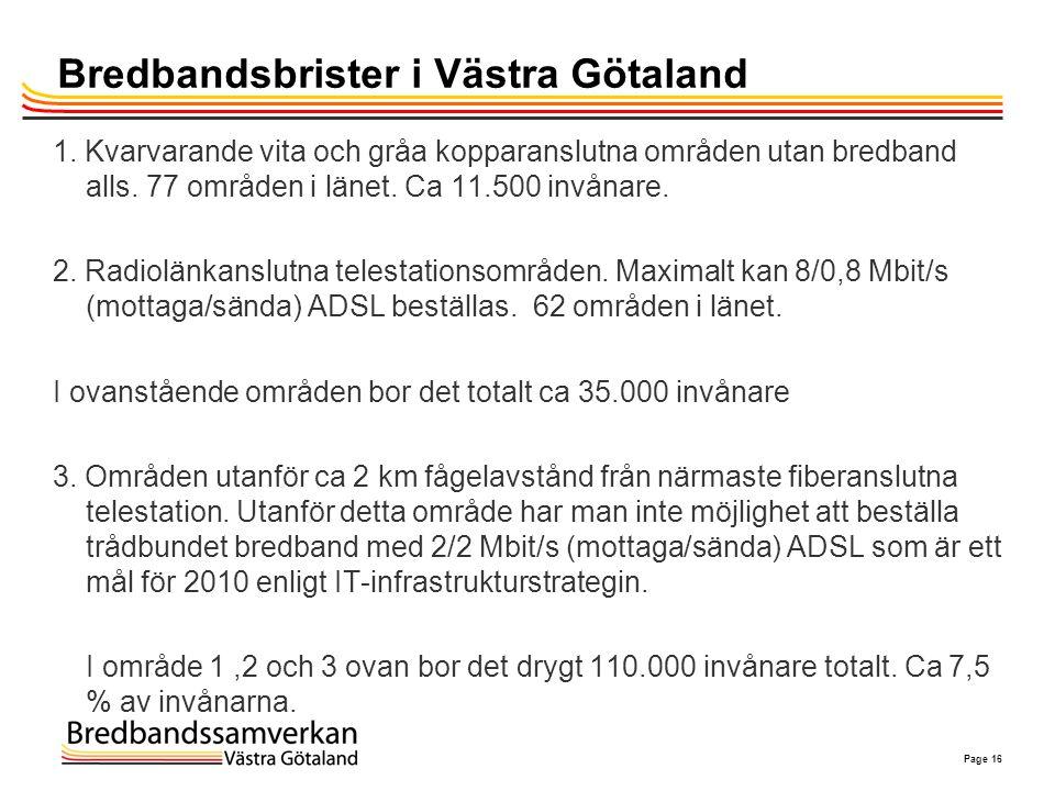 Page 16 Bredbandsbrister i Västra Götaland 1. Kvarvarande vita och gråa kopparanslutna områden utan bredband alls. 77 områden i länet. Ca 11.500 invån