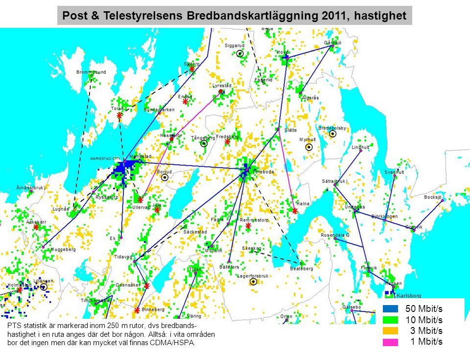 50 Mbit/s 10 Mbit/s 3 Mbit/s 1 Mbit/s Post & Telestyrelsens Bredbandskartläggning 2011, hastighet PTS statistik är markerad inom 250 m rutor, dvs bred
